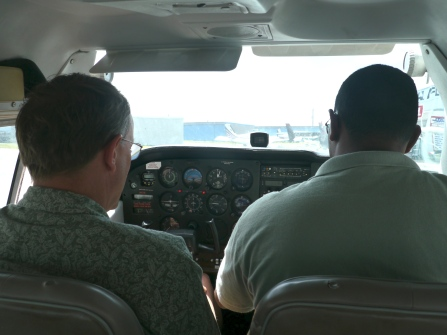 Steve and Carlos in the cockpit