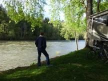 Steve watching a log pass by