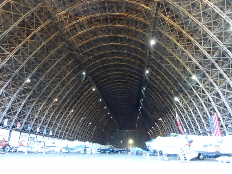 The camera cannot capture all of the wooden hangar