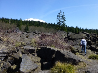 Lava rocks and a peek of Mt St Helens.