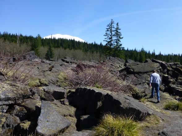 Lava rocks and a peek of Mt St Helens.