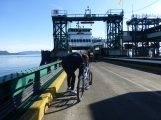 Walking our bike to the ferry boat