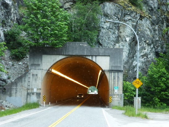 One of the 7 tunnels to go through at Fraser Canyon. Although it's hard to find information regarding the height of the 7 tunnels, they are all plenty tall for any RV, even if you left your satellite dish up!