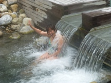 Soaking at Liard Hot Springs