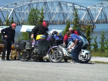 Steve stopped to help the down biker