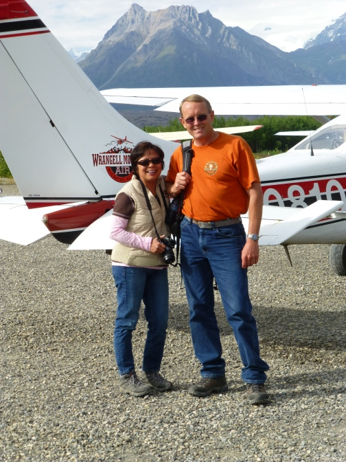 At the McCarthy airport (Cessna 206 used for the flight), Alaska