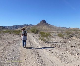 Hiking near our site, Dome Rock ahead