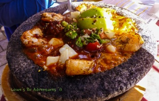 Molcajete at Santiago's restaurant