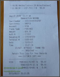 $59 - this is not a dinner receipt, folks!