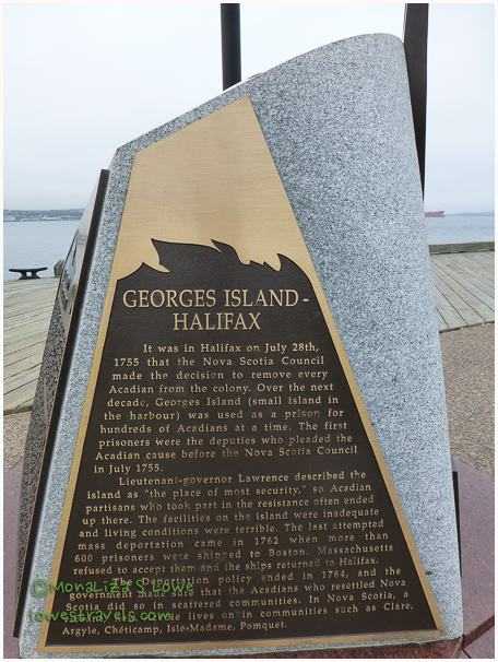 Monument to Imprisoned Acadians on Georges Island, Bishops Landing, Halifax