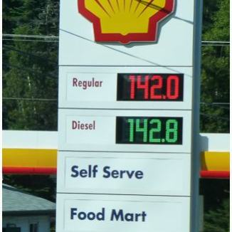 Fuel prices - multiply by 3.785 for gallons!
