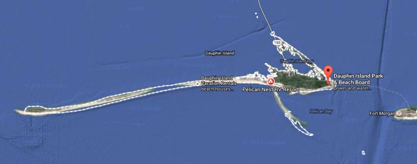 Map of Dauphin Island Alabama