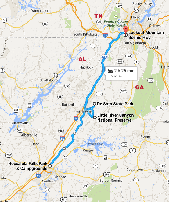 Lookout Mountain Parkway Map