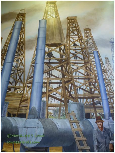 Wooden Oil Derrick mural, Oil Museum