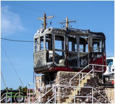 Gondola car destroyed in the fire