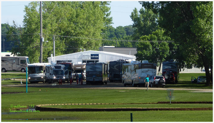 RV's lined up at the 10-port dump station as they leave town