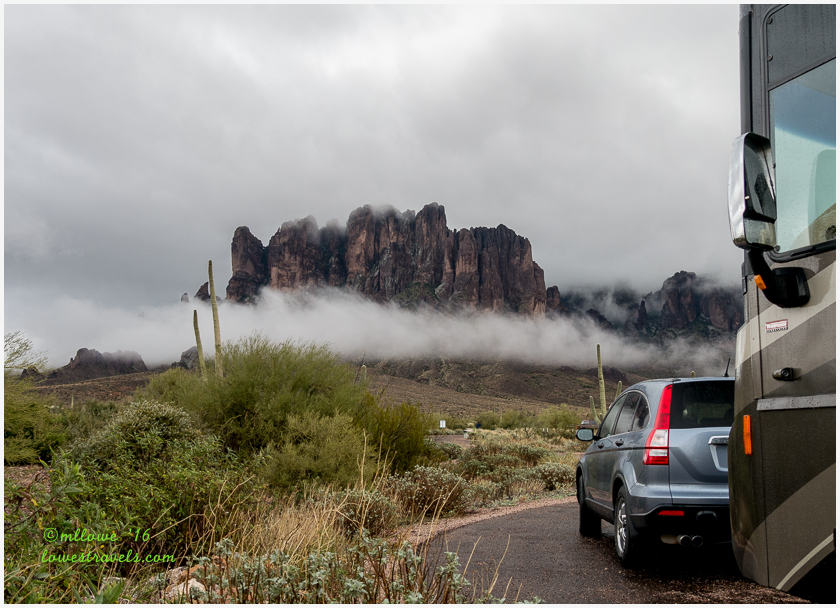 Superstition Mountains in fog