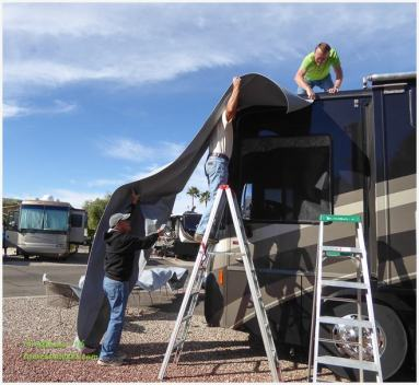 Installing RV slide toppers