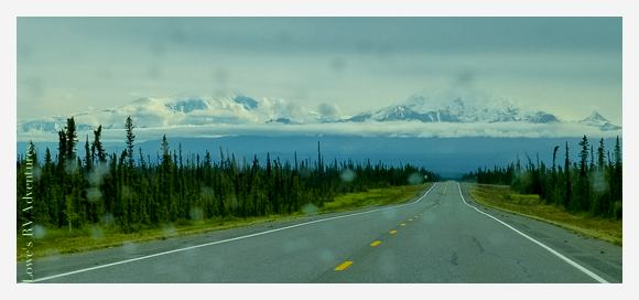 Mt Sanford on the left and Mt Drum on the right