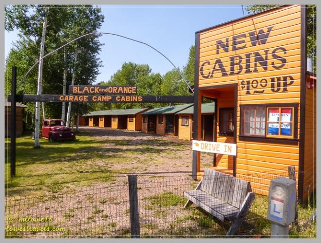 Black and Orange Garage Camp cabins