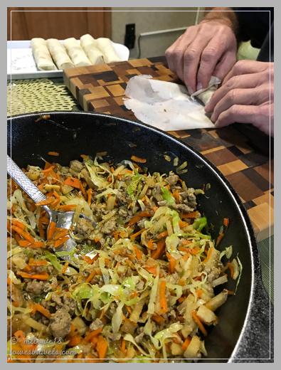 A big batch of lumpia - I cook, he wraps