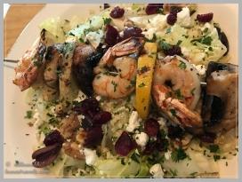 Grilled shrimp on grilled lettuce
