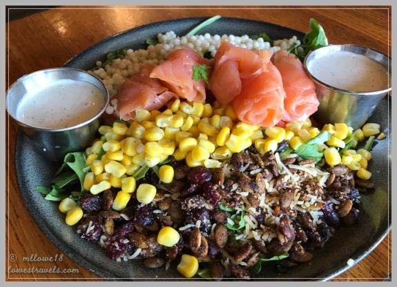 Smoked salmon over a Chop Salad