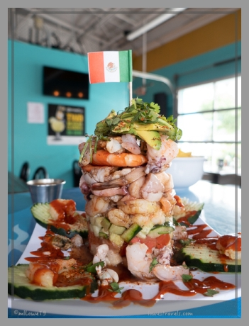 A tower of shrimp for lunch