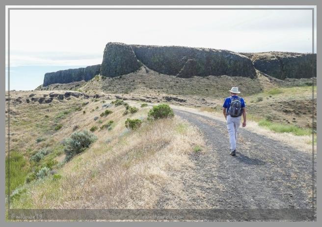 The trail ran along high basalt rock