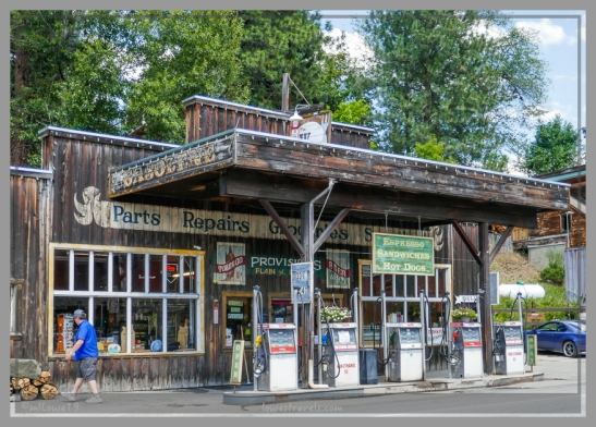 Old-style gas station and pumps