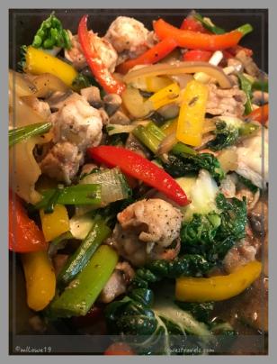 Vegetable stir fry with shrimp