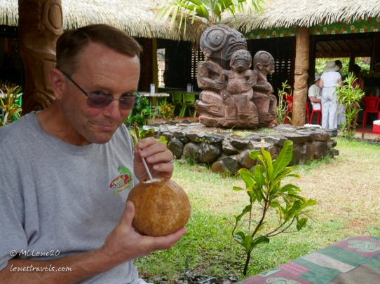 Sipping coconut water - yum